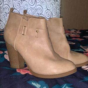 Taupe Block Heel Booties